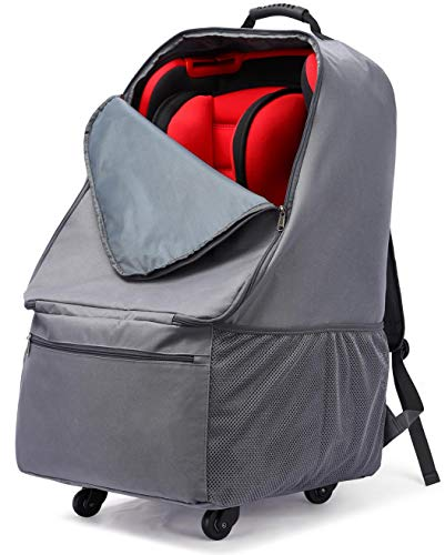 Car Seat Bag with Wheels, Baby Car Seat Travel Carseat Cover Backpack Bag, Infant Carriers Booster Cover Protector for Air Travel (Grey)