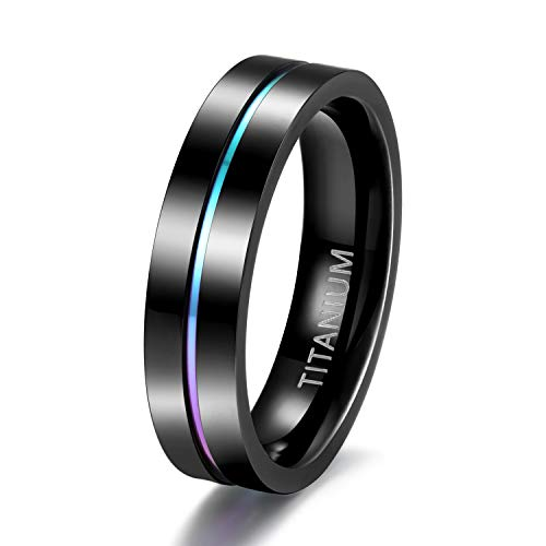 TIGRADE 5mm 7mm Rainbow Titanium Ring Colorful Thin Groove Wedding Band Couple Rings Size 5-13, 5mm, Size 7.5