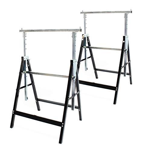 Wiltec 2X Gerüstbock Unterstellbock Klappbock Stützbock Arbeitsbock Höhenverstellbar 80-130cm bis 200kg