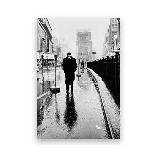 ZGZART Póster de fotografía Vintage en Blanco y Negro de 1955 Impresiones en Lienzo clásico Actor de película de Hollywood Pintura decoración de la Pared del hogar - 50x70 cm (sin Marco)