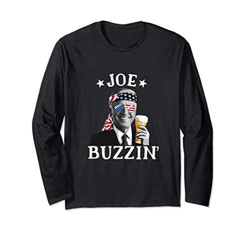 Joe Buzzin' Patriótico 4 de julio Beber Presidente Joe Biden Manga Larga