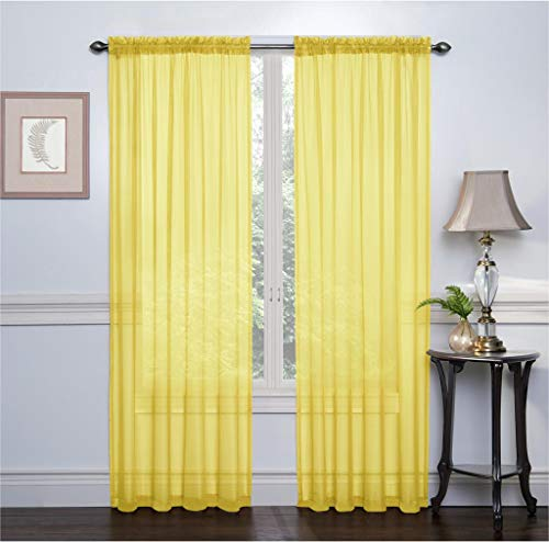 Ruthy's Textile 2 Pack Sheer Voile Window Treatment Rod Pocket Curtain Panels for Bedroom and Living Room 54 x 84 inches Long - Color: Yellow