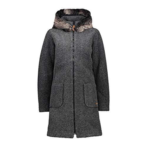 Cmp Parka In Lana Eco Fur, Donna, Antracite-Nero, 44, Antracite-Nero