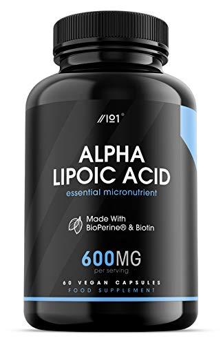 Alpha Lipoic Acid with BioPerine & Biotin Capsules - 600mg - Potent Amino Acids - Non-GMO, 60 Vegan Capsules