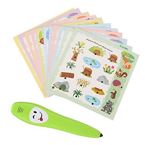 12-teiliges Kinder-Lernkartenset mit elektrischem Stift, intelligente Lernfreunde für den Kindergarten im Vorschulalter, Lernkarte für kognitive Karten