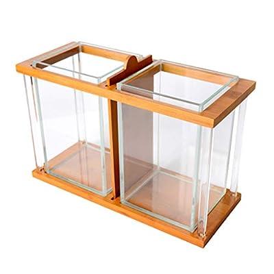 F Fityle Doppel Aquarium Fischglas Fischbecken Glasbecken Haus Büro Schreibtisch Dekoration