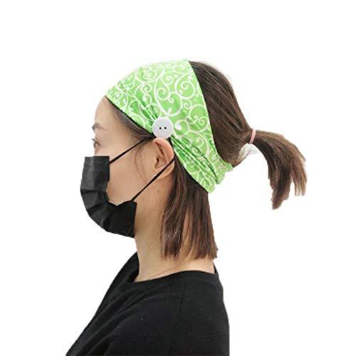 Fenverk_Sport-Stirnband - Feuchtigkeitsableitend & Atmungsaktiv – Das ideale Schweißband zum Joggen, Radfahren, Yoga und mehr – für Damen und Herren,Mit Knopf,optimalen Ohrenschutz beim(A#Grün)