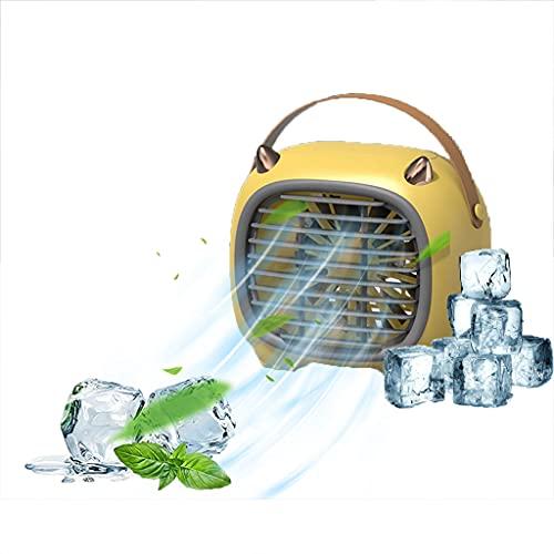 GHAMZ Aires Acondicionados Móviles, Mini Ventilador 3 en 1, Mini Enfriador de Aire con Humidificador, Carga USB y 3 Velocidades Ajustables, para El Hogar, Dormitorio, Oficina, Aire Libre,Amarillo