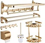 WJJH Cuarto de baño Estante de Aluminio Ducha Estante de Toallas estantes de Almacenamiento de la Cesta de Ducha de Esquina Caddie (Seis Conjuntos),Oro