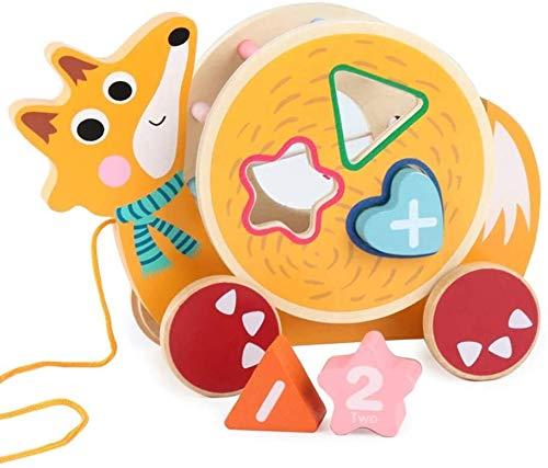 Aoyo Formes Animaux en Bois Jouet à Tirer avec Couleur vive Kid Early éducation coloré Toy-
