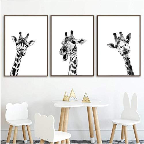 agwKE2 Girafe Safari Animaux Noir Blanc Toile Affiche Mur Art Peinture Pépinière Bébé Girafe Photographie Nordique Imprimer Enfants Chambre Décor 40x60cmx3 unframed