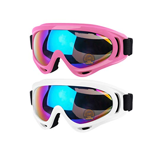 Anni Coco Ski Goggles, Snowboard Goggles for Men Women & Youth, Kids, Boys & Girls, Snow Goggle Winter Skiing Sport Goggles Anti Fog Protection, Anti-Glare Lenses, Wind Resistance, 2 Pack