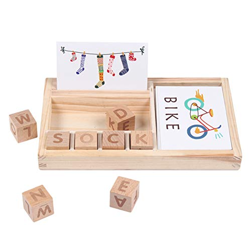 WAQIAGO Matching Letter Game, Wooden Educational Letter Spelling Toys, Alphabet Words Spelling Letter Block for Girls Boys Gift (30pcs Cards Double-Side)