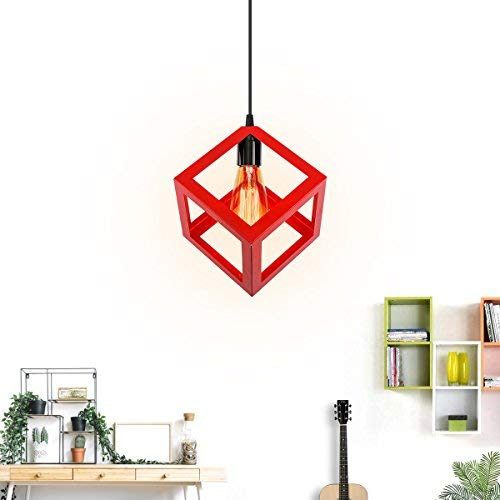 KINGSO E27 Lampe Suspensions Plafonnier Abat-jour Lustre avec Douille Applique d'Eclairage Murale Retro Industriel Rouge