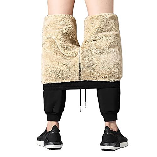 joyvio Pantalones de chándal deportivos con forro de sherpa para mujer Pantalones deportivos deportivos de lana cálida Pantalones para caminar en el salón de invierno (Color : Black, Size : S)