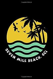 Seven Mile Beach, GCI: Retro Grand Cayman Beach Lined Notebook Journal Diary 6x9