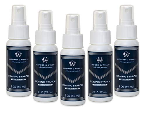 Oxford & Wells Premium Ironing Spray Starch, Non-Aerosol, 2-Ounce Travel Size TSA Compliant (Pack of 5)