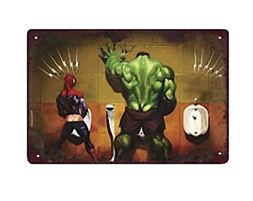 Plaque Metal Spiderman, Hulk et l'homme Invisible