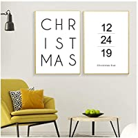 クリスマスの家の装飾壁アートキャンバス絵画北欧のポスター絵の装飾白黒引用クリスマスプリント50x75cmx2Pcsフレームレス