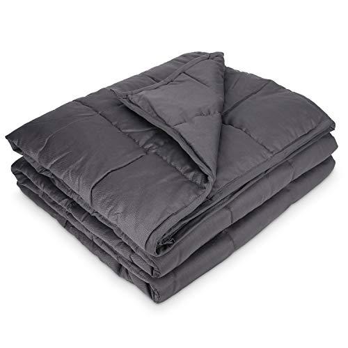 Navaris Gewichtsdecke 135x200 cm 4,8 kg - Bezug aus Baumwolle - 7 Schichten - Decke schwere Bettdecke - Beschwerte Decke grau