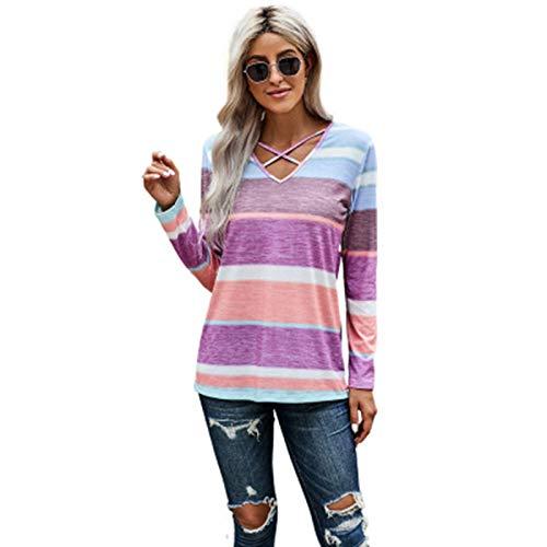 SLYZ Camiseta De Mujer Europea Y Hermosa, Otoño, Jersey De Rayas De Color, Cuello En V, Manga Larga, Camiseta De Mujer Casual, Top