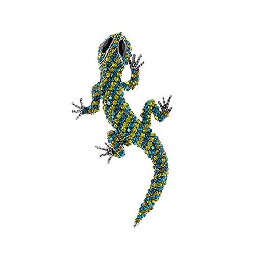 DFHTR Broches De Lagarto Grande De Diamantes De Imitación para Mujer Gecko Pin De Camaleón De Cuatro Patas Broche De Animal Vivo Broches De Joyería De Moda
