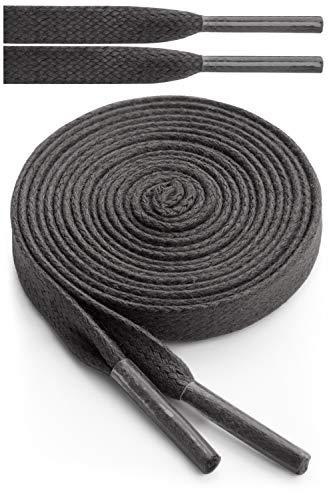Miscly – Schnürsenkel Flach - Gewachst Reißfest [3 Paar] für Steifel und Lederschuhe – 100% Baumwolle - Ø 6mm (91 cm, Schwarz)