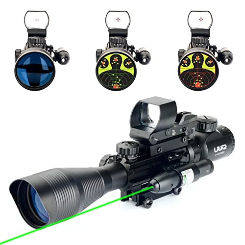 UUQ 4-12X50 Rifle Scope Red &Green Illuminated Range Finder Reticle W/Green Laser Sight and 4 Tactical Holographic Red Dot Reflex Sight