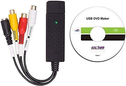 Jancane USB 2.0 Audio/Video Converter - Video Capture Card Digitizes Video from Any Analog Source Including VCR, VHS, DVD