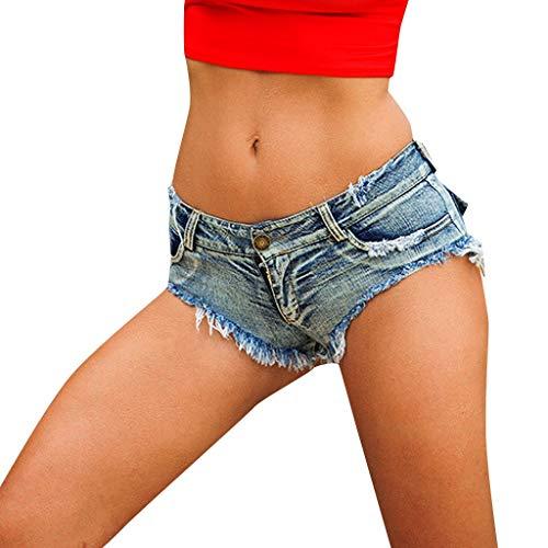 IYHENZ Damen Sexy Taste Niedrige Taille Denim Jeans Kurze Hose Super Mini Hot Pants Sommershorts Strandshorts Beachshort Boardshorts Schwimmen Badeshorts(Blau,L)