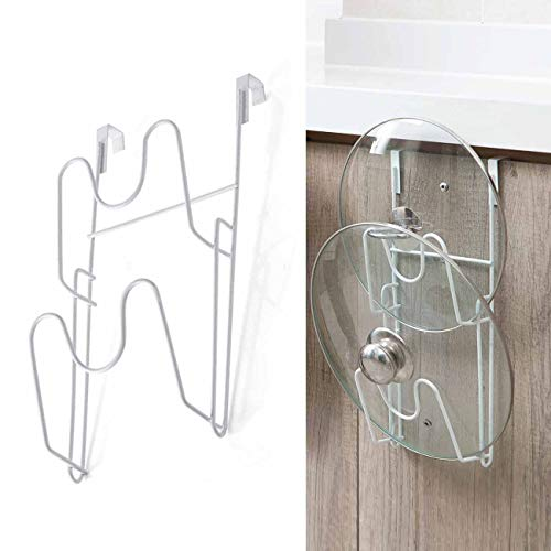 Shinepine Vertikaler Topfdeckelhalter, Pfannenhalter für Schrank, küchenschrank Türen, Deckelhalter Edelstahl, Selbstklebend Küchenschrank Organizer(1 Packung, Weiß)