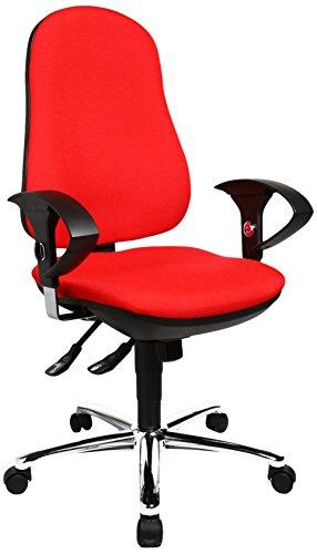 Topstar Support SY, ergonomischer Bürostuhl, Schreibtischstuhl, inkl. höhenverstellbare Armlehnen, Bezugsstoff, rot