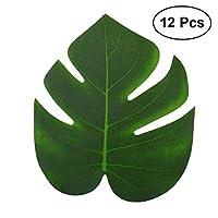 SUNTAOWAN 12ピース20x18cm耐久性のある人工熱帯ヤシの葉リアルな装飾的な再利用可能なハワイアンシミュレーションリーフパーティービーチ