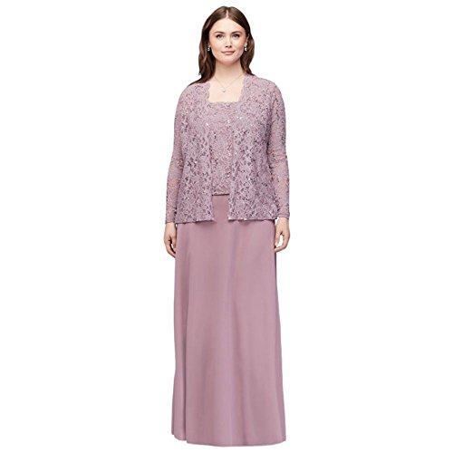 Scalloped Lace Two-Piece Plus Size Tank Mother of Bride/Groom Dress Style 948912, Orchid, 20W