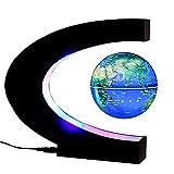 LXVY Globo Flotante de levitación magnética rotación del Mapa del Mundo con Luces LED Tierra Globo Forma C de para Decoración de Escritorio Regalo de Cumpleaños de Navidad,A1