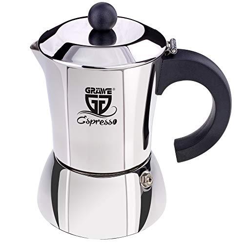 GRÄWE Espressokocher ca. 200 ml / 4 kl. Tassen aus Edelstahl