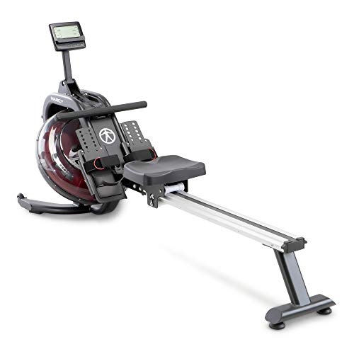 Marcy Pro Water Resistance Rower Rowing Machine for Home Gym LCD Monitor Tracks Time Distance Strokes and Calories NS-6023RW, Black/red/Silver