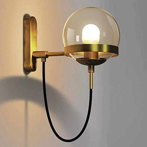 DSJ eenvoudige postmodern retro American restaurant cognac glazen bol brons wandlamp, brons