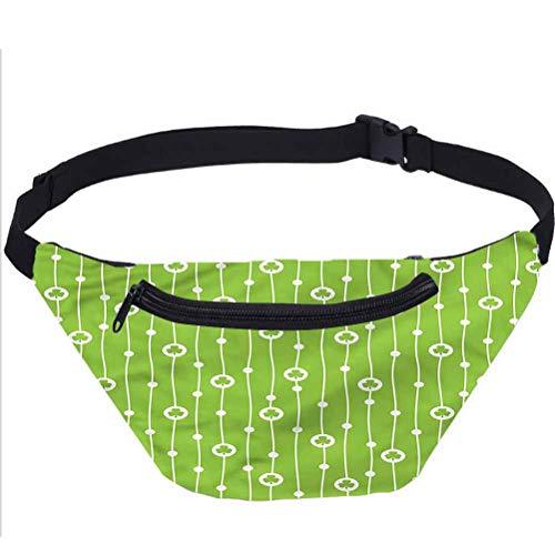 Irish Travel Fanny Bag,Cute Trifolium Wavy Lines Waist Pack for Women Men Kids