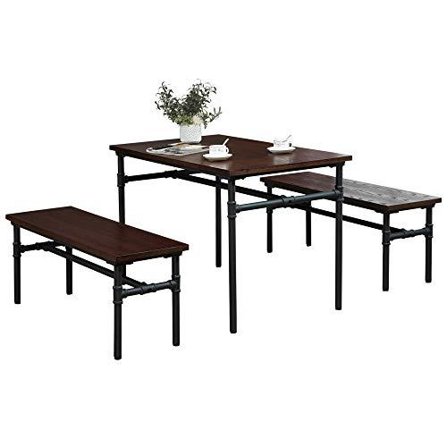 HOMCOM Essgruppe mit 2 Bänken, Industriestil, Esszimmergarnitur Sitzgruppe Tischgruppe, Natur+Schwarz, 110x70x75cm (Tisch), 110x35x45cm (Bank)