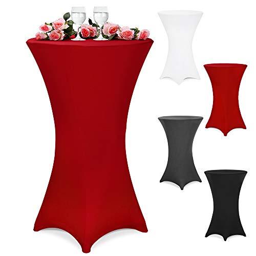 Deuba Stretch Stehtischhusse Stehtisch Husse 30°C Waschbar Verstärkte Standfüße Viele Farben & Größen - Ø 70 cm Bordeaux-Rot