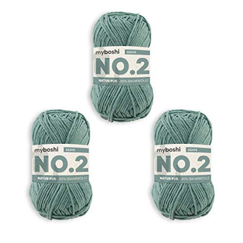 myboshi No.2 Wolle, 85% Baumwolle, 15% Kapok, Agave, 50g, 100m, 3 Knäuel, Wolle zum Häkeln und Stricken, Babywolle, Ökotex, Wärmeregulierend, Vegan