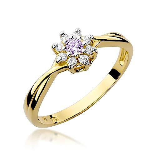 Damen Ring 585 14k Gold Gelbgold echt Amethyst Edelstein Diamanten Brillanten