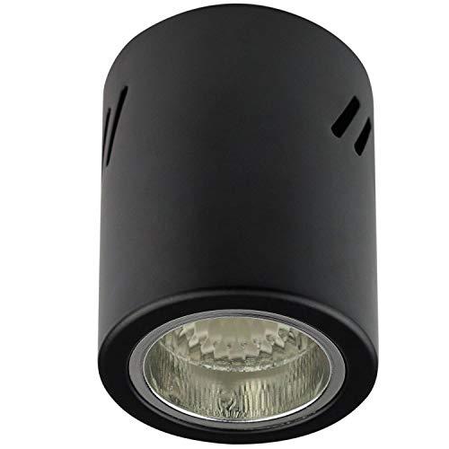 Aufbaurahmen schwarz E27 für Aufbauleuchte – Aufbaustrahler aus Stahl 110x90mm – für LED und Halogen Leuchtmittel – Einbaustrahler, Rahmen