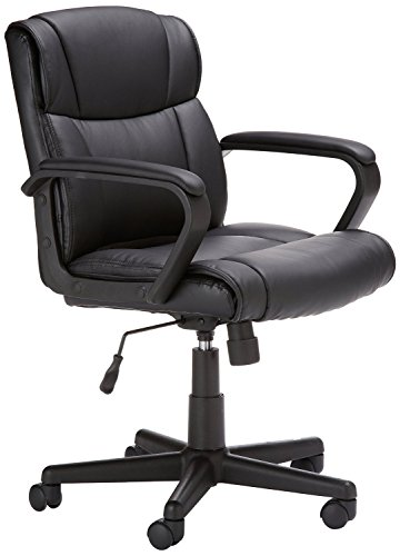 AmazonBasics Classic Leather-Padded Mid-Back Office Desk Chair with Armrest - Black, BIFMA Certified