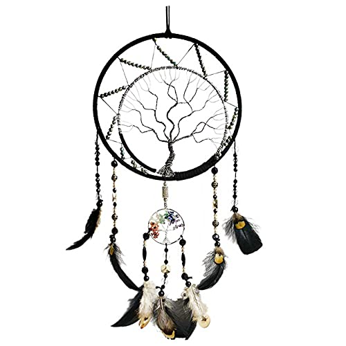 7 Chakras Tree of Life Dream Catcher Wall Decor with Rainbow Healing Crystal Stone Handmade Black Feather DreamCatchers Wall Hanging Ornaments for Bedroom Home Decor Blessing Gift Wedding Party -22'