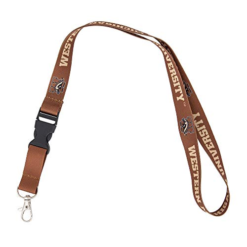 Western Michigan University WMU Broncos Car Keys ID Badge Holder Lanyard Keychain Detachable Breakaway Snap Buckle (Brown)