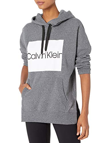Calvin Klein Women's Box Logo Long Sleeve Boxy Pullover, Black Heather, Medium
