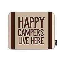 Happy Campers Live Hereマウスパッドアウトドアキャンプレトロブラウンストライプラインマウスマット滑り止めラバーベースマウスパッドコンピューター用ノートパソコンPCゲームワーキングオフィス&ホーム