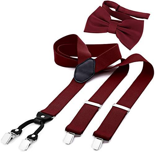 DonDon Tirantes para hombres ancho 3,5 cm en forma de Y, elásticos y ajustables en paquete de 2 con pajaritas adecuada 12 x 6 cm - Rojo oscuro